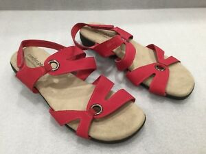 Sz 10 Predictions Comfort Plus Women Red Coral Peggy Strappy Slingback sandals