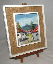 Honduras Painting Buildings Landscape Small Wood Burlap Easel Central America CA