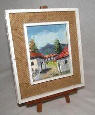 Honduras Painting Buildings Landscape Small Wood Burlap Easel Central America CA