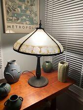 Reverse Painted Bradley & Hubbard Table Lamp Handel Pairpoint Era Ribbed Glass