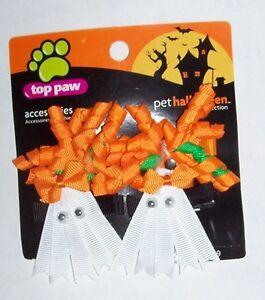 4 Halloween dog hair bows pet barrettes clips curly ghosts orange white eyeballs