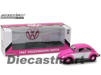 Greenlight 1:18 1967 Volkswagen Beetle Right-Hand Drive Diecast Car Pink White