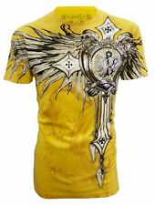 KONFLIC [CROSSES FENIX] T-SHIRT ROCKER BIKER HARLEY FOIL TRIBAL WINGS  Konflic C