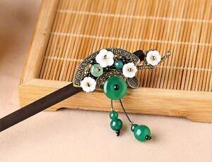 HANDMADE Women Hair Pin Japan style Fan agate tassels Wood Hairpin Stick GIFT