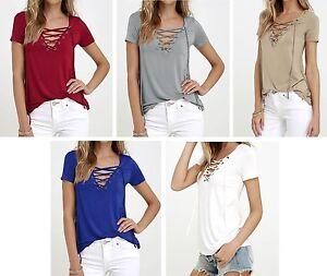 Top Bluse Shirt kurzarm T-Shirt mit Schnürung S - XL
