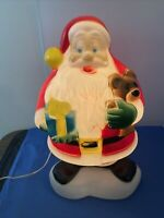 "VTG 18"" Christmas Blow Mold Santa Claus w/ Teddy Bear & Present Lighted Works"