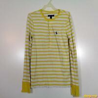 Ralph Lauren L/S Classic Polo Shirt Womens Size M Yellow/white pima cotton