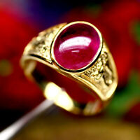 NATURAL 9 X 13 mm. OVAL CABOCHON RED RUBY MEN'S RING 925 STERLING SILVER