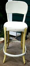 "Vintage Metal Counter Stool Child's 22"" Tall White"