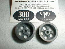 1 pair Deep 5 Hole Magnesium Wheels by MILA MIGLIA #300  1960's slot car NOS