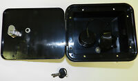 Valterra BLACK Gravity City Water Inlet Fill Dish Hatch Lock RV Trailer Lockable