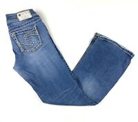 Silver Suki Bootcut Blue Jeans Womens Size 28 X 30 Thick Stitch Embroidered
