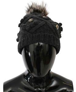 DOLCE & GABBANA Hat Gray Cashmere Fur Crystal Winter Beanie Cap One Size