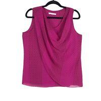 CAbi Top blouse sz M Fuchsia floral/Polka Dot print Style 983 Draped sleeveless