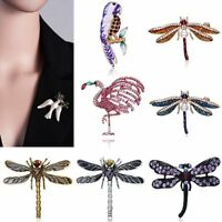Fashion Crystal Pearl Animals Dragonfly Birds Brooch Pin Women Costume Jewelry