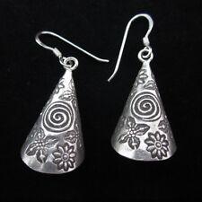Fine silver earrings Hill tribe thai karen Handmade tube shape spiral flower