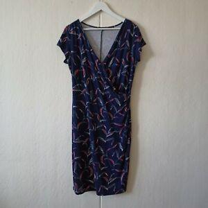 Esprit Women's Wrap Dress Blue Multicoloured Short Sleeves Size L Size 14