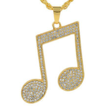 Men's Gold Color musical note Pendants With Long Twist Chain Statement Necklace