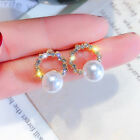 Fashion Crystal Pearl Zircon Stud Earrings Dangle Charm Women Wedding Jewellery