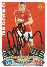 TOM CLEVERLEY SIGNED MAN UNITED 2011/2012 MATCH ATTAX TRADING CARD+COA