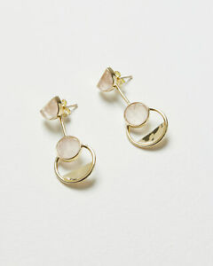 Oliver Bonas Women Myrtie Rose Quartz & Gold Plated Drop Earrings