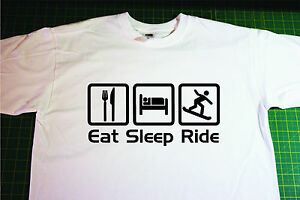 Eat, Sleep, Snowboard T-Shirt. In White. Size Extra Large. snow, board, boarding