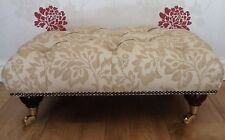 A Quality Deep Buttoned Footstool In Laura Ashley Acanthus Gold Fabric