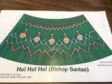 """Mollie Jane Taylor Smocking Plate """" Ho Ho Ho """" Bishop Santa'S"""