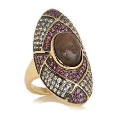 RARITIES CAROL BRODIE CHOCOLATE SAPPHIRE GEMSTONE VERMEIL RING SIZE 6 HSN $299