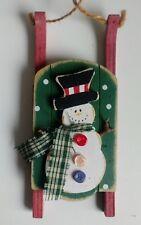 Wood sleigh Snowman Christmas Ornament holiday decoration primitive