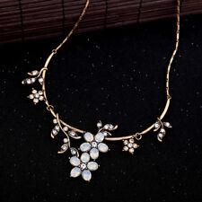 Necklace Golden Short Tough Art Deco Branch Tree Sheet Floral Opal Retro JD4