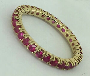 R122- Genuine 9K SOLID Gold NATURAL Ruby FULL Eternity Ring Band size N