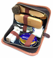 SAPHIR Shoe Shine Travel Kit Leather Care Polish Applicator Brush Shoehorn Set
