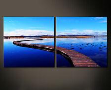 BLUE WALL Leinwand Bild Bilder Steg Wasser Blau Ruhe Impression Relax XXL Deko