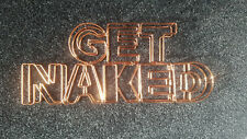 Copper Toned Wire Get Naked Bathroom Sign Ornament Free Standing