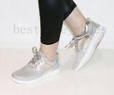 WOMEN LADIES RUNNING TRAINERS SHINNING FLAT FITNESS GYM SPORT LACE UP SHOES SIZE