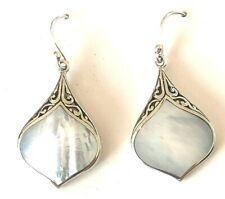 CJL Bali Sterling Silver Mother Of Pearl Drop Earring