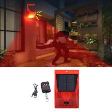 Solar Sound Alarm Strobe Light 8 LED 129db Home Security Alarm System Yard