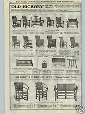 1917 PAPER AD Andrew Jackson Old Hickory Furniture Rocking Chair Rocker Settee