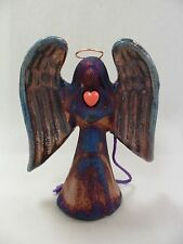 Raku Pottery Small Angel Ornament By Artist: Jeremy Diller - Made in CA, USA