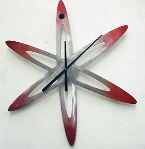 MODERN ART  BRUSHED ALUMINIUM CONTEMPORARYASTRO IN RED WALL BY STONEYBROOK