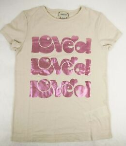 "Gucci Kid's Off White Cotton T-Shirt Pink Metallic ""LOVED"" Print 12 554879 9247"