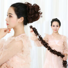 39''100cm Thick Hair Extension scrunchie Wrap Messy Bun Uodp Curly Ponytail Hair