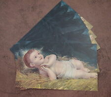 Lot of 10 Christmas HOLY CARDS Baby Jesus lying in Crib vintage style picture