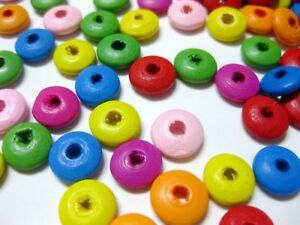 Craft DIY Mixed Bright Candy Color Flat Round Wood Beads Spacer 10X5mm 8X4mm