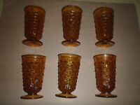 Set of 6 Vintage Indiana Glasses Whitehall Harvest Gold Amber 12oz cubist footed