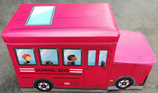 Large Kids Clothes Storage Seat Bedroom Stool Toys Books Box Chest Car Bus Pink