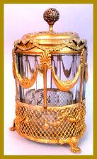 Antique French Empire Style 19c Cigar Humidor Gilded Cagework Ormolu w glass jar