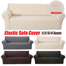 1/2/3/4 Seats Waterproof Elastic Stretch Sofa Cover Waffle Fabric Solid Color US