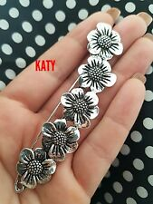 Large Antique Silver Tone 5 Daisy Safety Pin Scarf Shawl Kilt Brooch Flowers